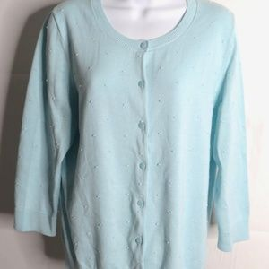 NWT Talbots Outlet Swiss Dot Cardigan Sweater L